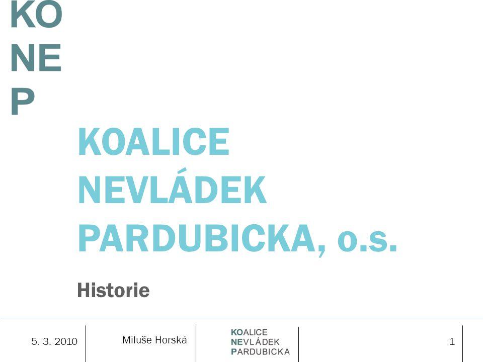 Miluše Horská 5. 3. 20101 KOALICE NEVLÁDEK PARDUBICKA, o.s. Historie