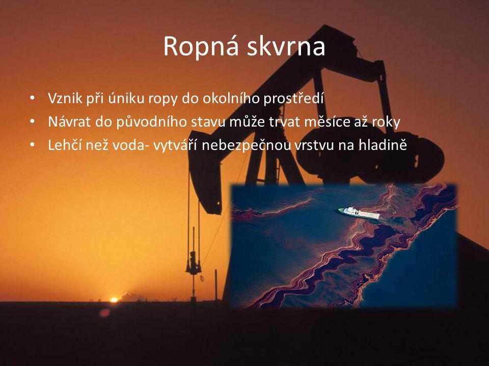 Produkce a spotřeba Dosud vytěženo 900 miliard barelů Zásoby na dalších 40 let Za rok 2009 bylo vytěženo celkem 3 821 milionů tun ropy Největší spotřebitel ropy za rok 2009 je USA 843 milionů tun ropy
