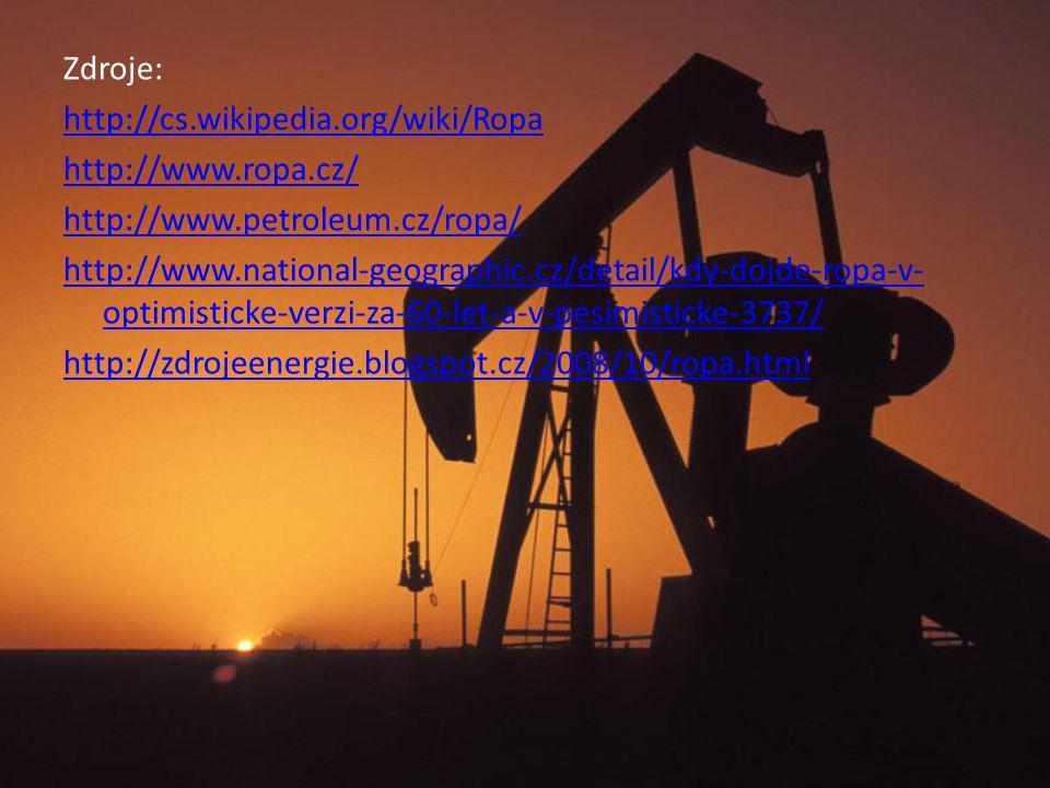 Zdroje: http://cs.wikipedia.org/wiki/Ropa http://www.ropa.cz/ http://www.petroleum.cz/ropa/ http://www.national-geographic.cz/detail/kdy-dojde-ropa-v-