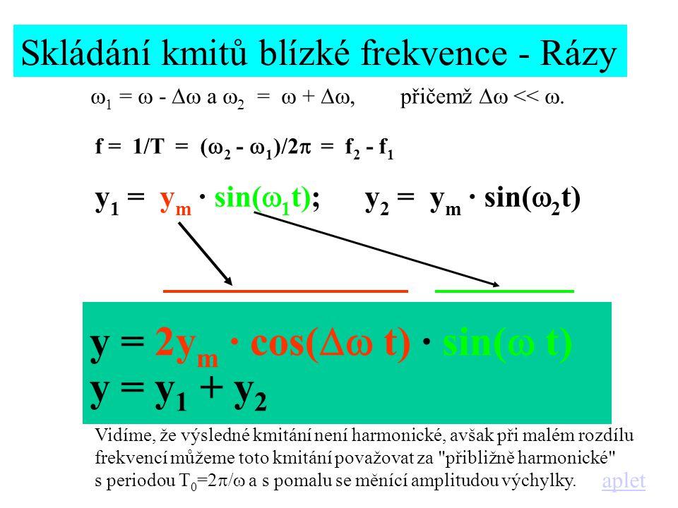 y 1 = y m · sin(  1 t);y 2 = y m · sin(  2 t) y = 2y m · cos(  t) · sin(  t) y = y 1 + y 2 f = 1/T = (  2 -  1 )/2  = f 2 - f 1 Skládání kmitů blízké frekvence - Rázy  1 =  -  a  2 =  + , přičemž  << .
