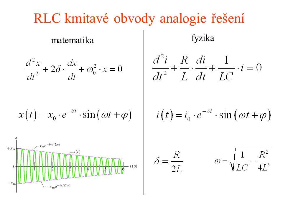 RLC kmitavé obvody analogie řešení matematika fyzika