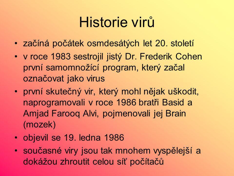Historie virů začíná počátek osmdesátých let 20.století v roce 1983 sestrojil jistý Dr.