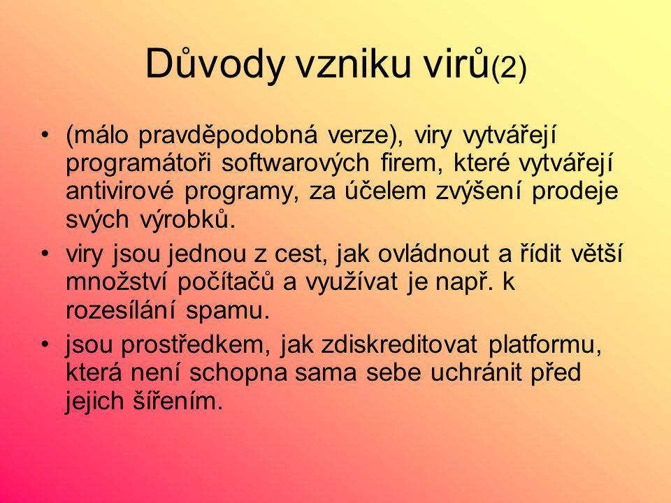 Důvody vzniku virů (2) (málo pravděpodobná verze), viry vytvářejí programátoři softwarových firem, které vytvářejí antivirové programy, za účelem zvýšení prodeje svých výrobků.