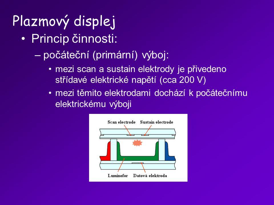 Princip činnosti: –počáteční (primární) výboj: mezi scan a sustain elektrody je přivedeno střídavé elektrické napětí (cca 200 V) mezi těmito elektroda