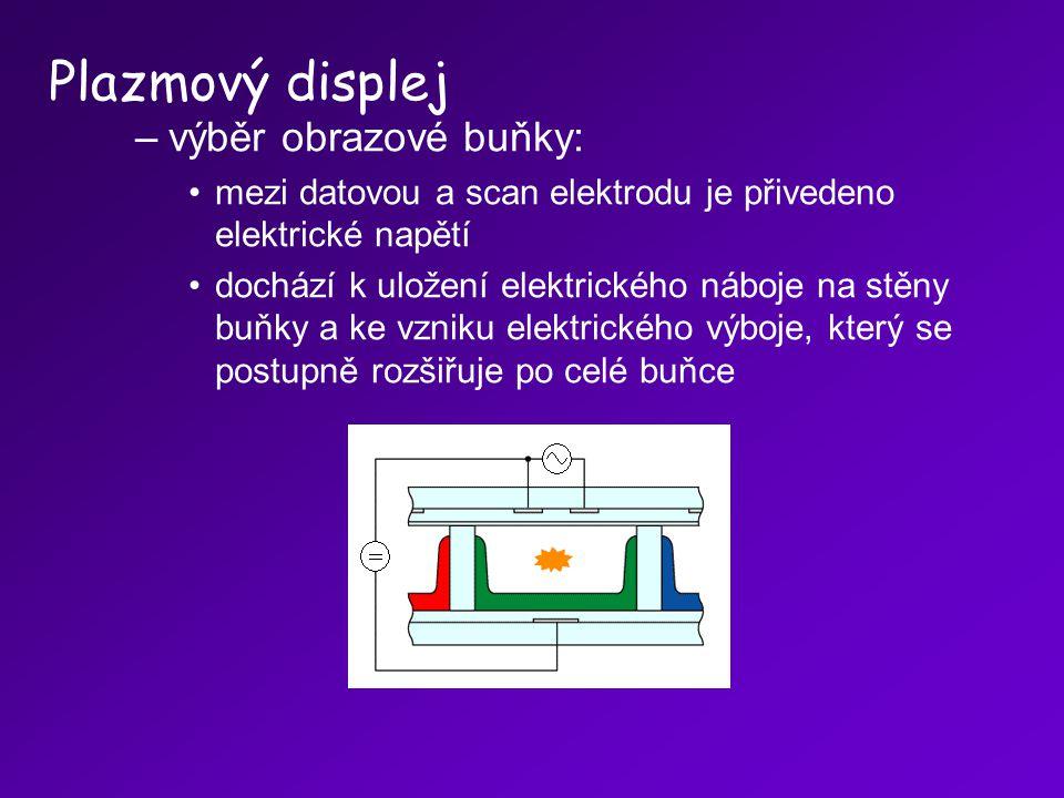 –výběr obrazové buňky: mezi datovou a scan elektrodu je přivedeno elektrické napětí dochází k uložení elektrického náboje na stěny buňky a ke vzniku e