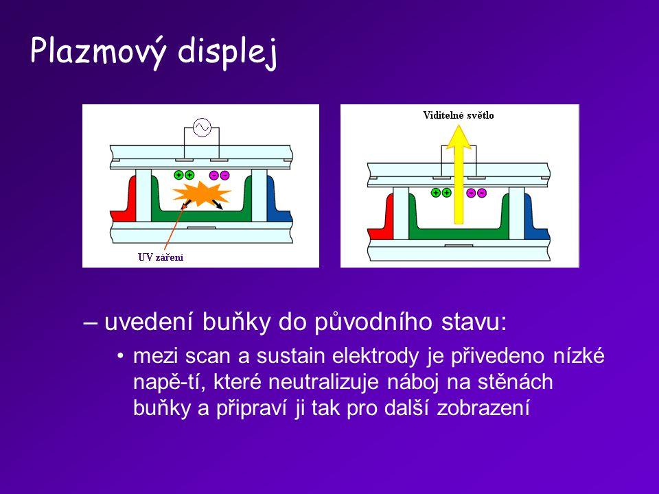 –uvedení buňky do původního stavu: mezi scan a sustain elektrody je přivedeno nízké napě-tí, které neutralizuje náboj na stěnách buňky a připraví ji t