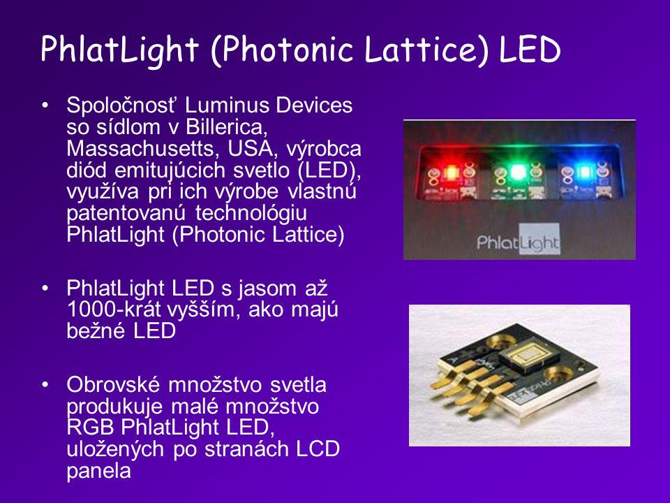 PhlatLight (Photonic Lattice) LED Spoločnosť Luminus Devices so sídlom v Billerica, Massachusetts, USA, výrobca diód emitujúcich svetlo (LED), využíva