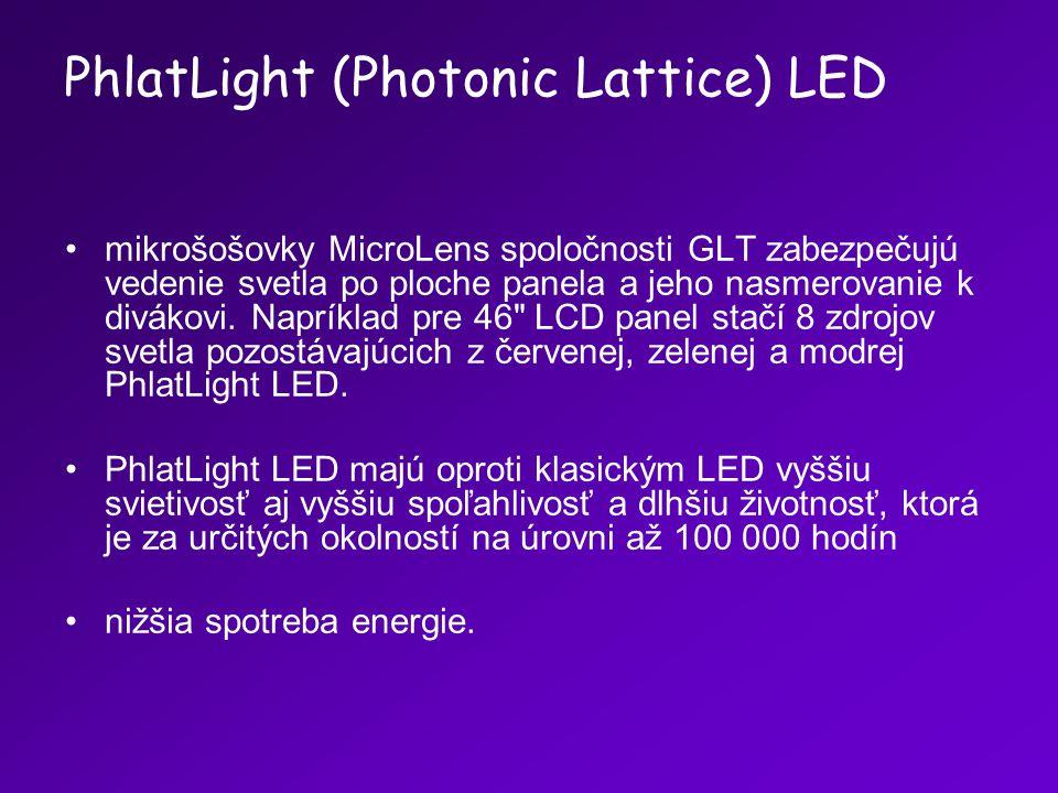 mikrošošovky MicroLens spoločnosti GLT zabezpečujú vedenie svetla po ploche panela a jeho nasmerovanie k divákovi. Napríklad pre 46