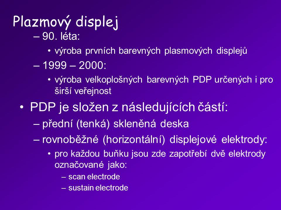 –90. léta: výroba prvních barevných plasmových displejů –1999 – 2000: výroba velkoplošných barevných PDP určených i pro širší veřejnost PDP je složen
