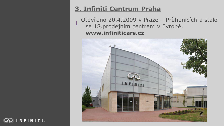 3. Infiniti Centrum Praha Otevřeno 20.4.2009 v Praze – Průhonicích a stalo se 18.prodejním centrem v Evropě. www.infiniticars.cz