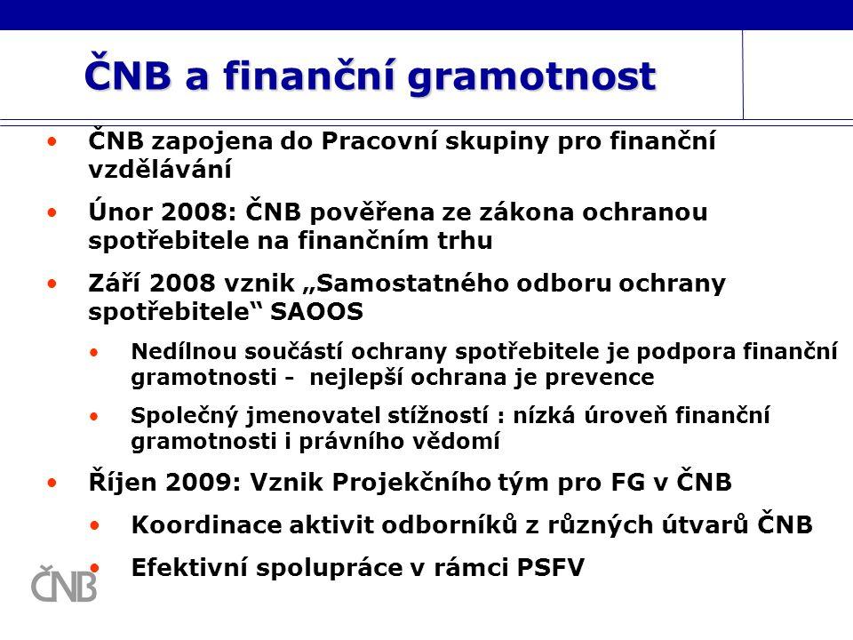 ČNB a finanční gramotnost ČNB zapojena do Pracovní skupiny pro finanční vzdělávání Únor 2008: ČNB pověřena ze zákona ochranou spotřebitele na finanční