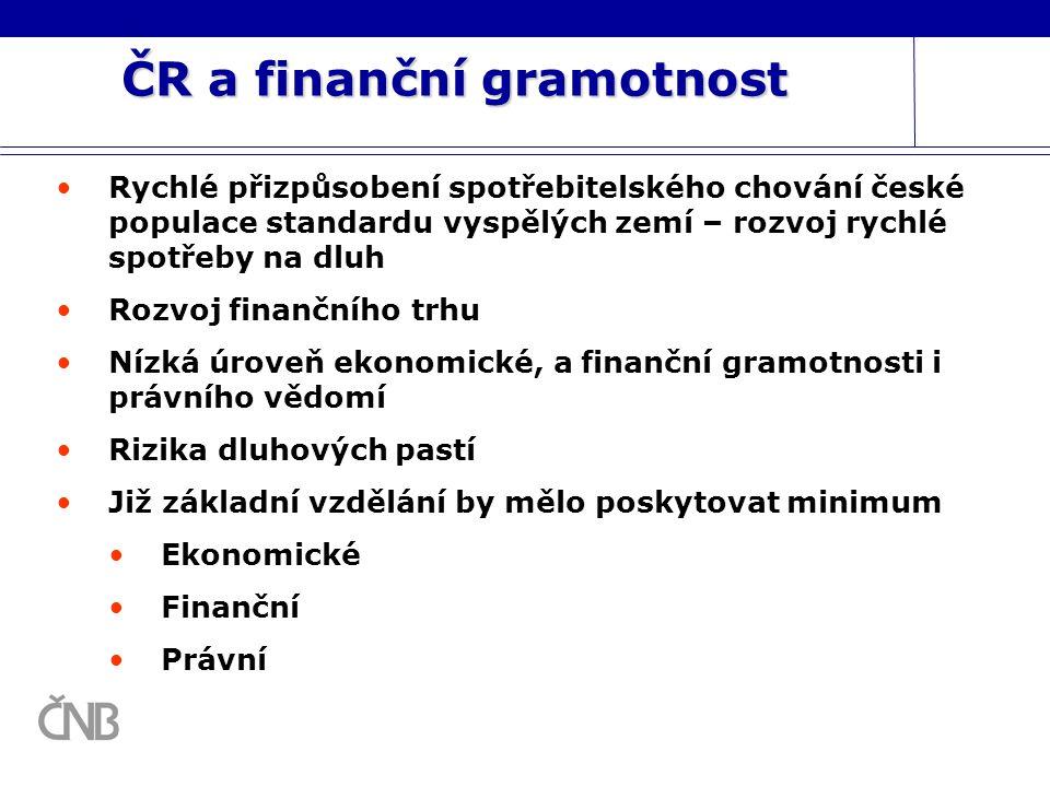 ČR a finanční gramotnost Rychlé přizpůsobení spotřebitelského chování české populace standardu vyspělých zemí – rozvoj rychlé spotřeby na dluh Rozvoj
