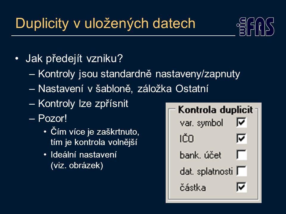 Duplicity v uložených datech Jak odhalit.