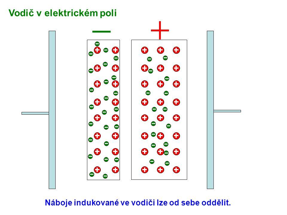 Náboje indukované ve vodiči lze od sebe oddělit. Vodič v elektrickém poli