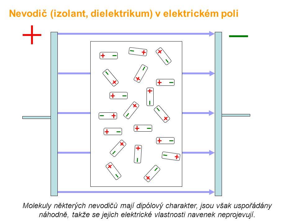 Molekuly některých nevodičů mají dipólový charakter, jsou však uspořádány náhodně, takže se jejich elektrické vlastnosti navenek neprojevují. Nevodič
