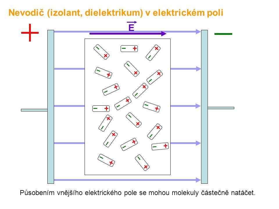 E Působením vnějšího elektrického pole se mohou molekuly částečně natáčet. Nevodič (izolant, dielektrikum) v elektrickém poli