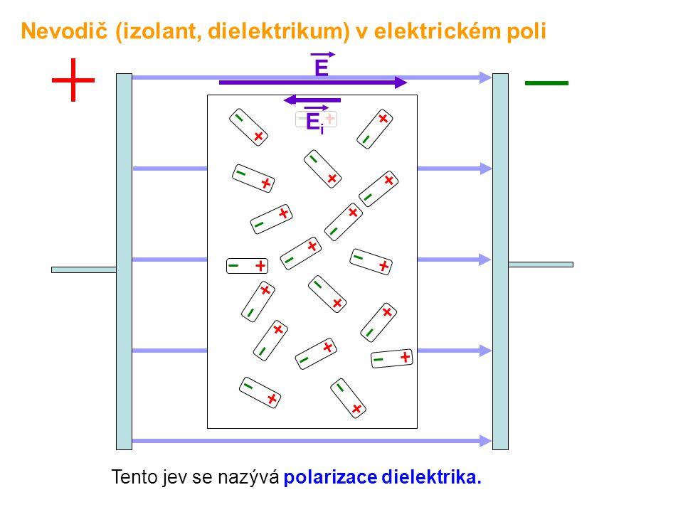 E EiEi Tento jev se nazývá polarizace dielektrika. Nevodič (izolant, dielektrikum) v elektrickém poli