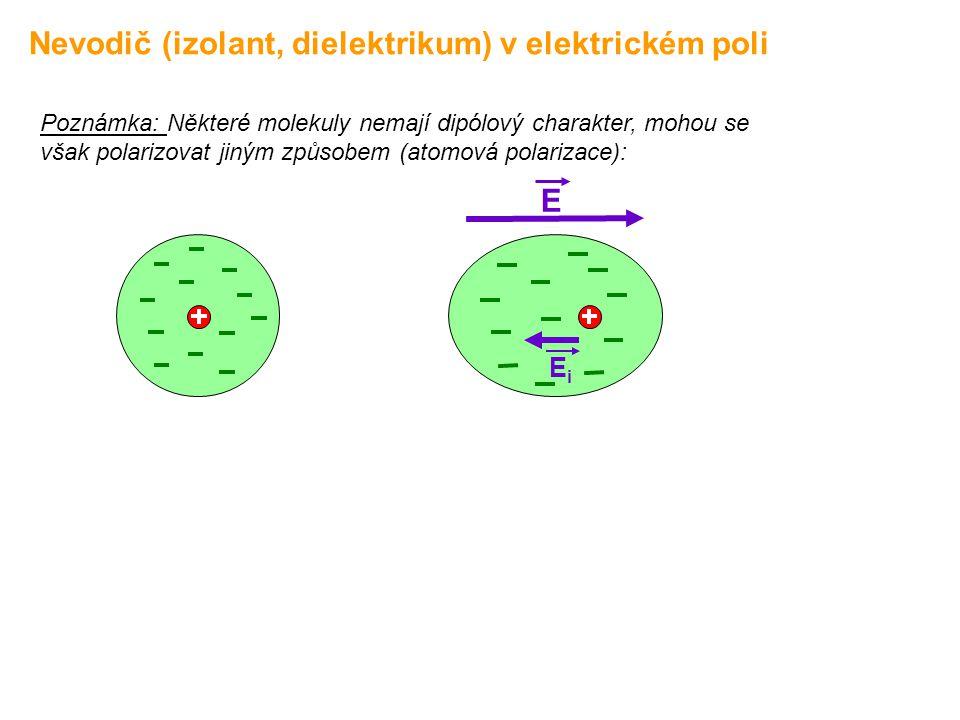 Nevodič (izolant, dielektrikum) v elektrickém poli Poznámka: Některé molekuly nemají dipólový charakter, mohou se však polarizovat jiným způsobem (ato