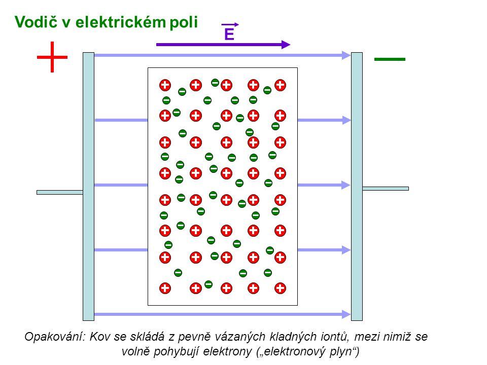"""E Opakování: Kov se skládá z pevně vázaných kladných iontů, mezi nimiž se volně pohybují elektrony (""""elektronový plyn"""") Vodič v elektrickém poli"""