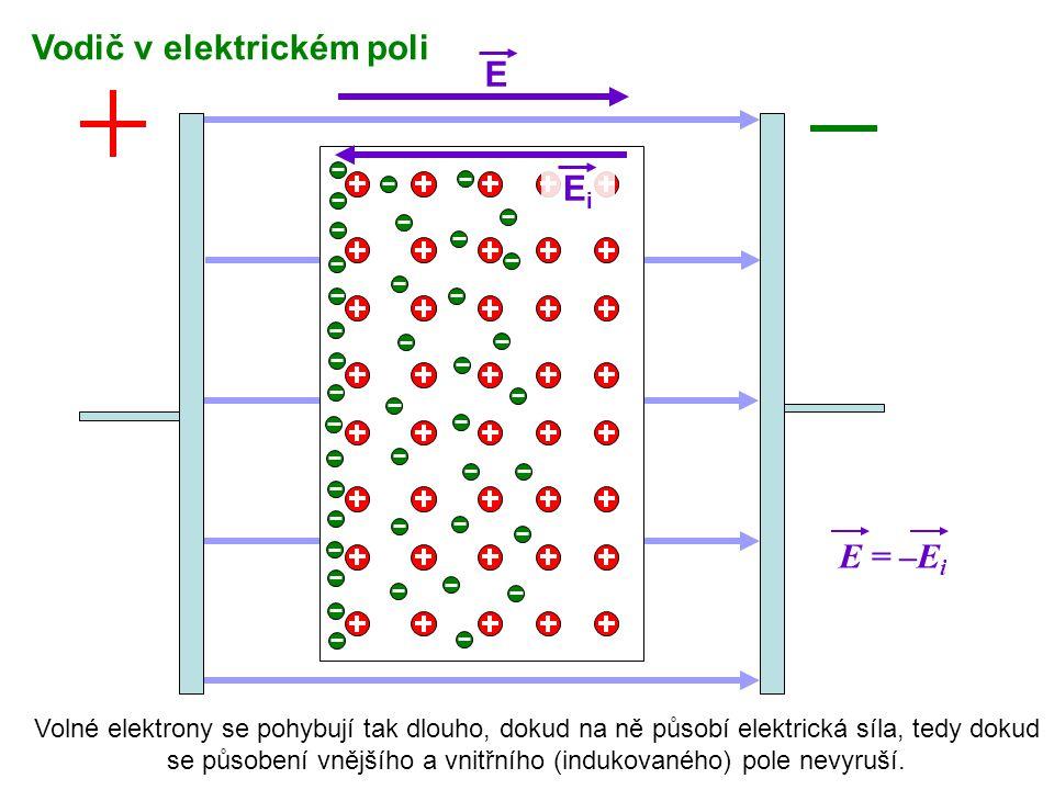 EiEi E = –E i E Vodič v elektrickém poli Volné elektrony se pohybují tak dlouho, dokud na ně působí elektrická síla, tedy dokud se působení vnějšího a