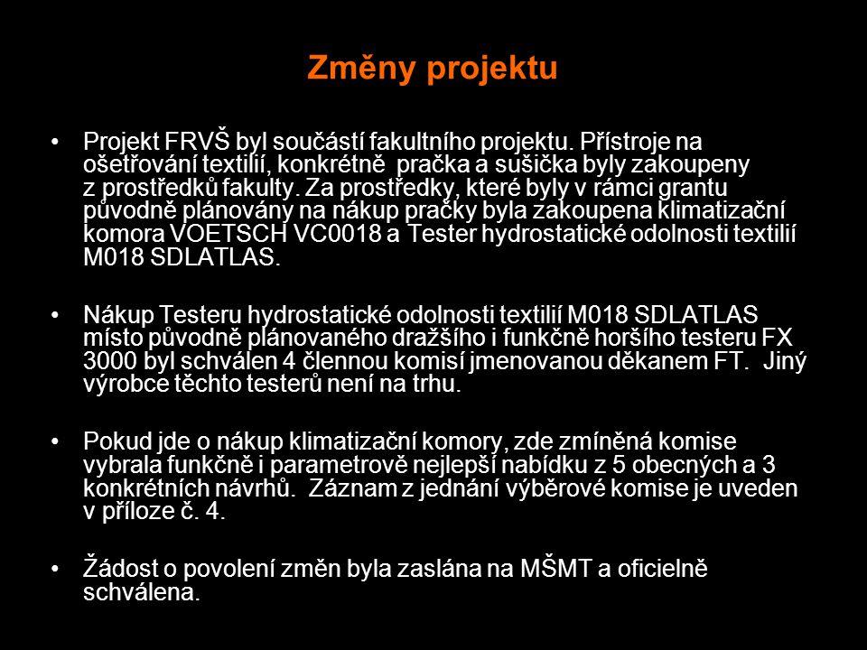Změny projektu Projekt FRVŠ byl součástí fakultního projektu.