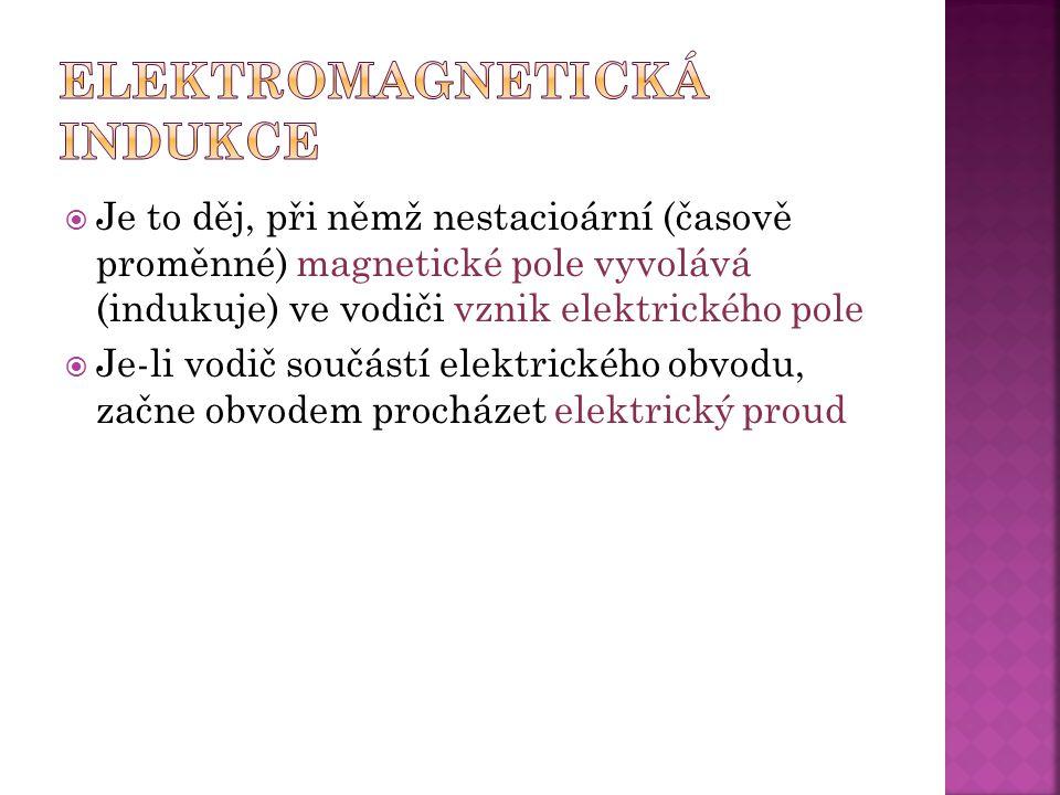  Je to děj, při němž nestacioární (časově proměnné) magnetické pole vyvolává (indukuje) ve vodiči vznik elektrického pole  Je-li vodič součástí elektrického obvodu, začne obvodem procházet elektrický proud