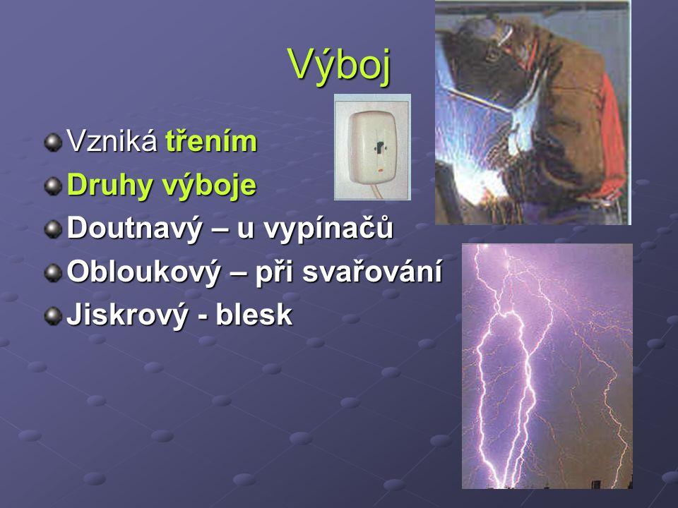 Výboj Vzniká třením Druhy výboje Doutnavý – u vypínačů Obloukový – při svařování Jiskrový - blesk