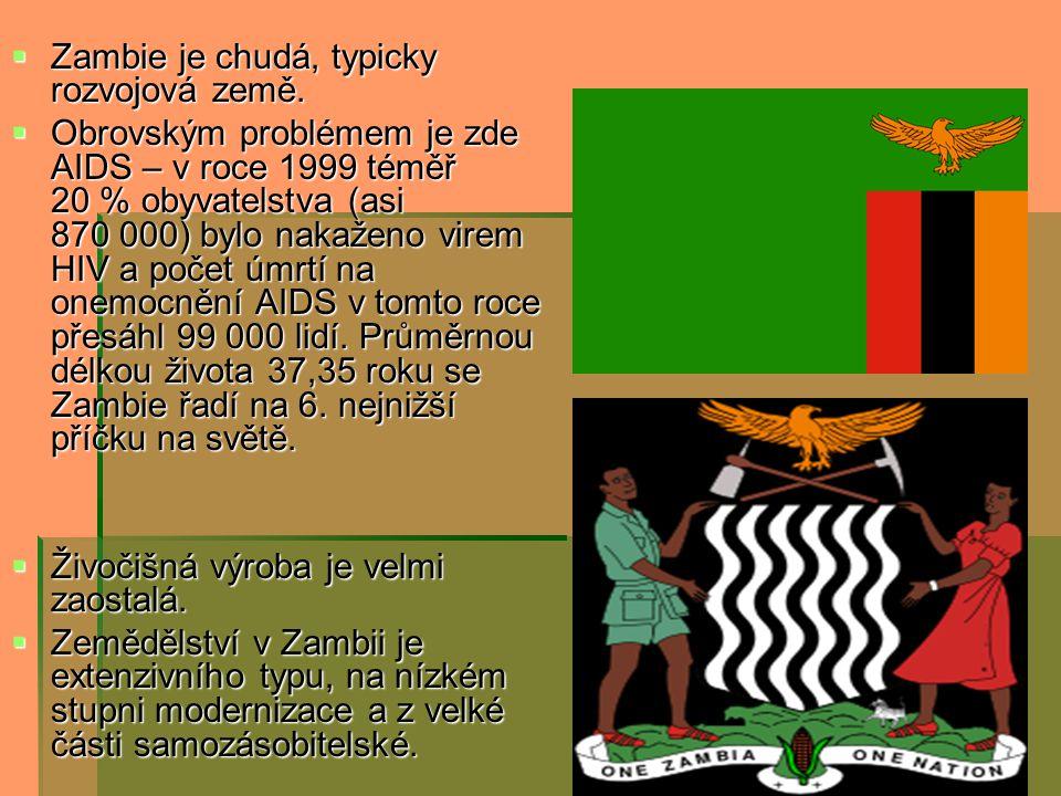  Zambie je chudá, typicky rozvojová země.