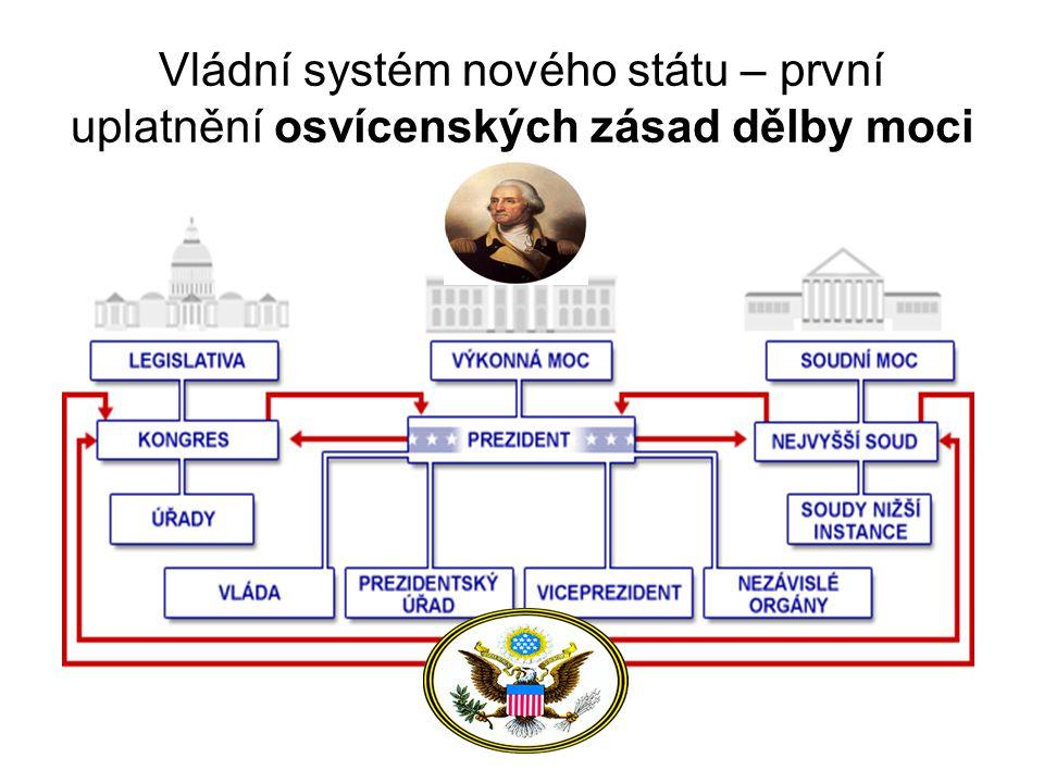 Vládní systém nového státu – první uplatnění osvícenských zásad dělby moci