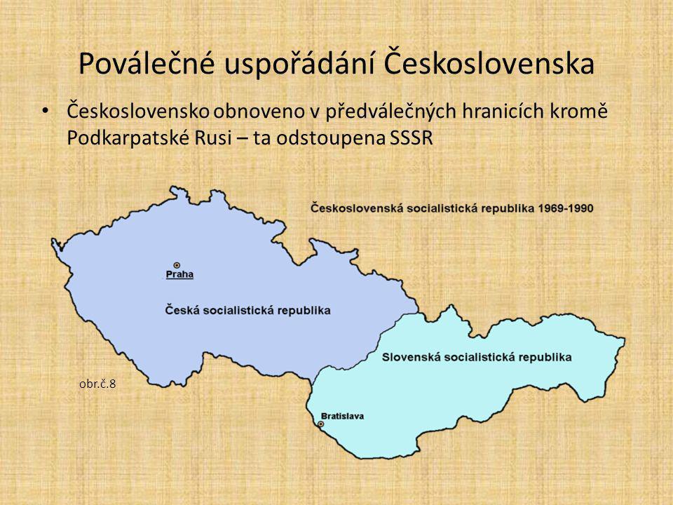 Poválečné uspořádání Československa Československo obnoveno v předválečných hranicích kromě Podkarpatské Rusi – ta odstoupena SSSR obr.č.8
