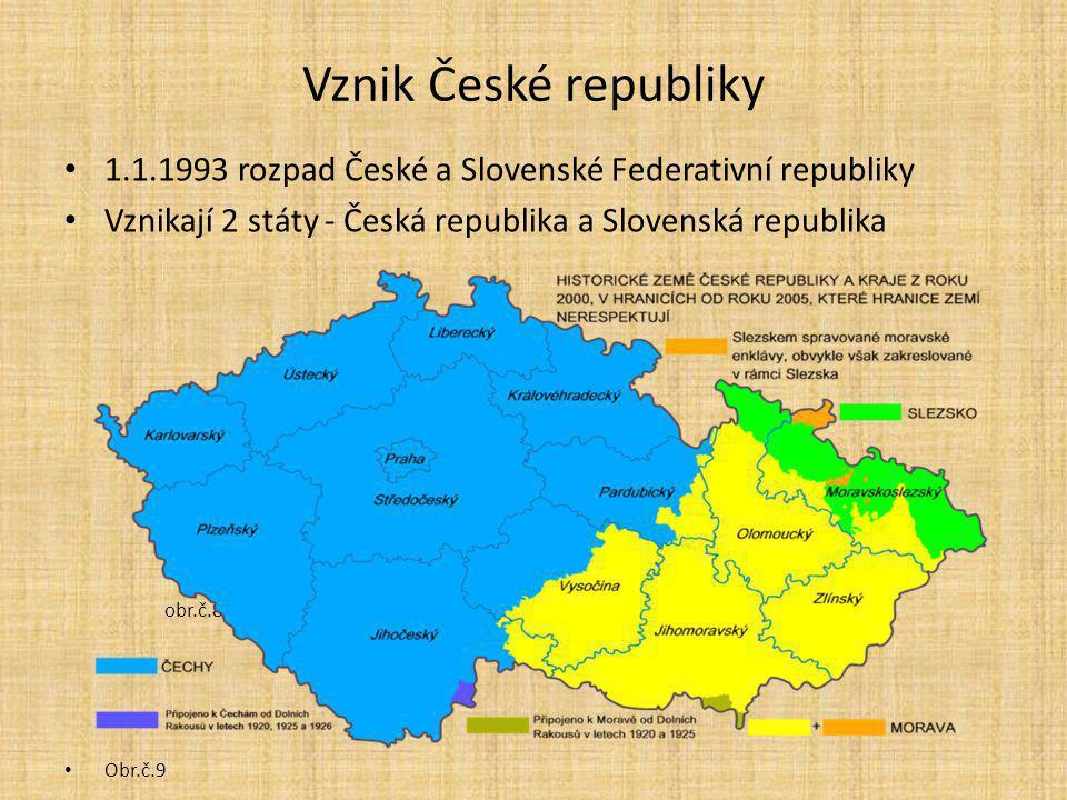 Vznik České republiky 1.1.1993 rozpad České a Slovenské Federativní republiky Vznikají 2 státy - Česká republika a Slovenská republika obr.č.8 Obr.č.9