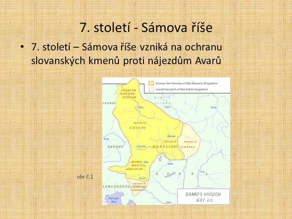 7. století - Sámova říše 7. století – Sámova říše vzniká na ochranu slovanských kmenů proti nájezdům Avarů obr č.1