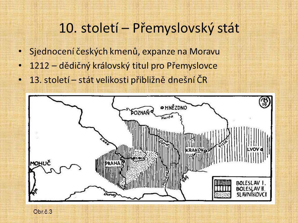 10. století – Přemyslovský stát Sjednocení českých kmenů, expanze na Moravu 1212 – dědičný královský titul pro Přemyslovce 13. století – stát velikost