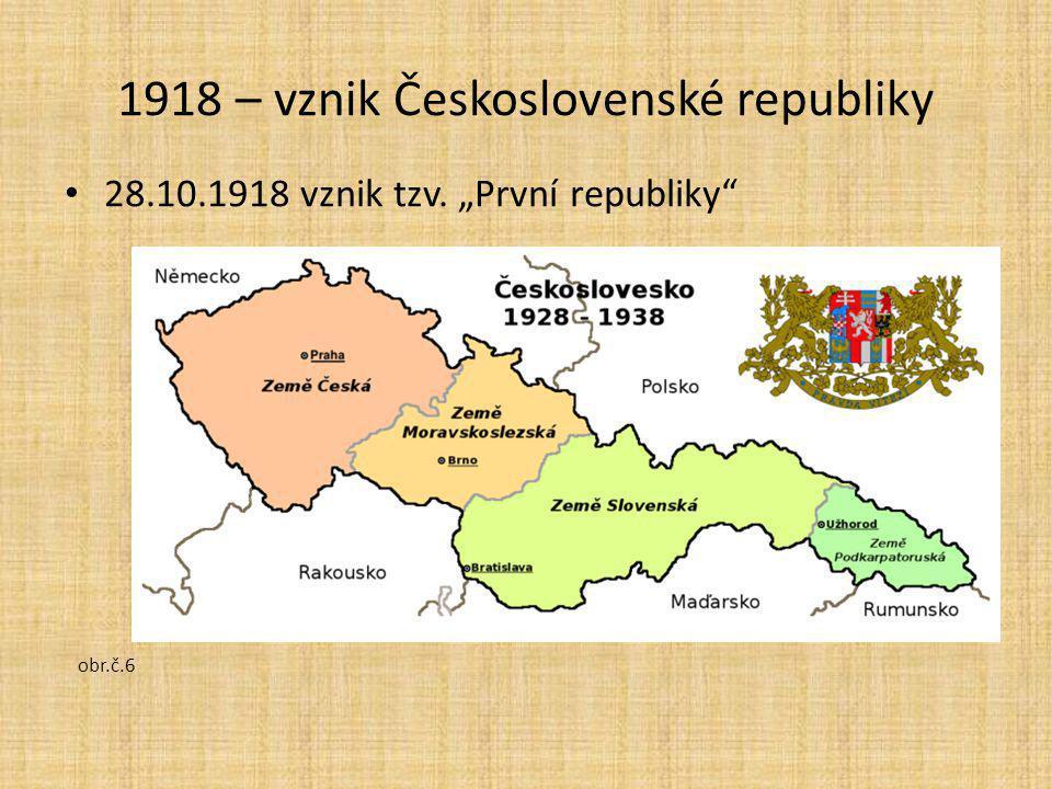"""28.10.1918 vznik tzv. """"První republiky"""" obr.č.6 1918 – vznik Československé republiky"""