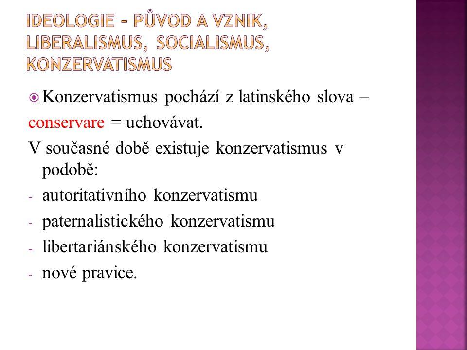  Konzervatismus pochází z latinského slova – conservare = uchovávat. V současné době existuje konzervatismus v podobě: - autoritativního konzervatism