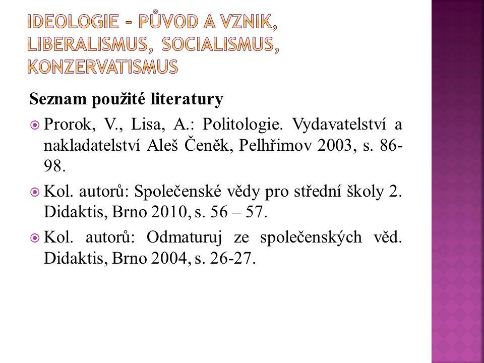 Seznam použité literatury  Prorok, V., Lisa, A.: Politologie. Vydavatelství a nakladatelství Aleš Čeněk, Pelhřimov 2003, s. 86- 98.  Kol. autorů: Sp