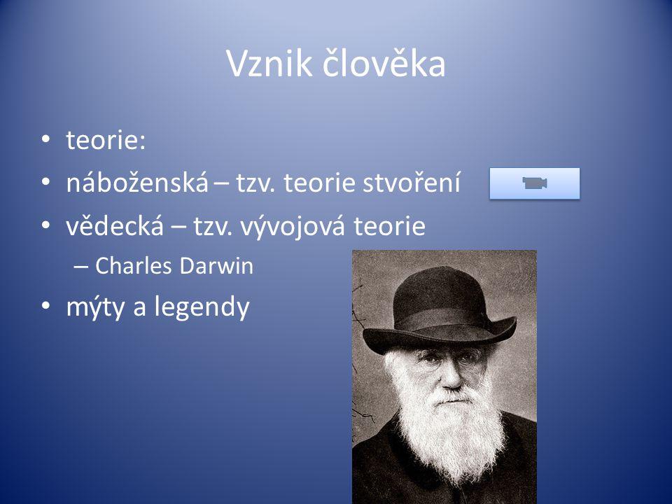Vznik člověka teorie: náboženská – tzv. teorie stvoření vědecká – tzv. vývojová teorie – Charles Darwin mýty a legendy