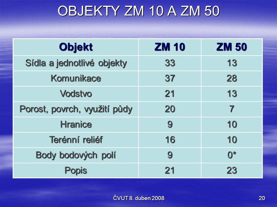 ČVUT 8. duben 200820 OBJEKTY ZM 10 A ZM 50 Objekt ZM 10 ZM 50 Sídla a jednotlivé objekty 3313 Komunikace3728 Vodstvo2113 Porost, povrch, využití půdy