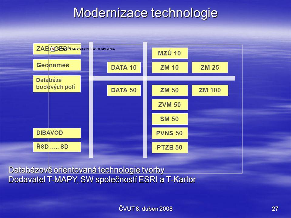 ČVUT 8. duben 200827 Databázově orientovaná technologie tvorby Dodavatel T-MAPY, SW společností ESRI a T-Kartor Modernizace technologie ZABAGED ® Data