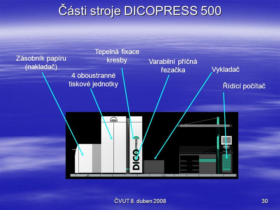 ČVUT 8. duben 200830 Části stroje DICOPRESS 500 Zásobník papíru (nakladač) 4 oboustranné tiskové jednotky Varabilní příčná řezačka Vykladač Řídící poč