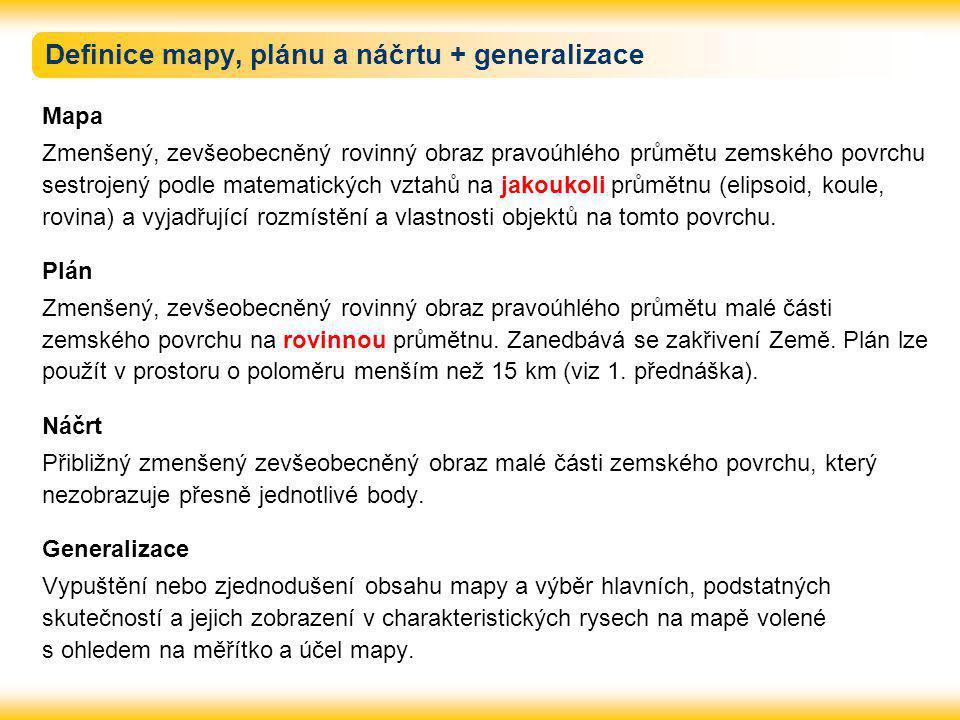 Definice mapy, plánu a náčrtu + generalizace Mapa Zmenšený, zevšeobecněný rovinný obraz pravoúhlého průmětu zemského povrchu sestrojený podle matemati
