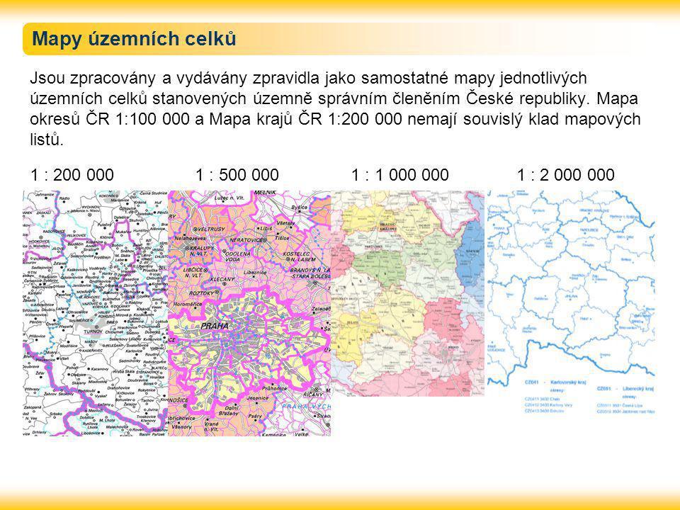 Mapy územních celků Jsou zpracovány a vydávány zpravidla jako samostatné mapy jednotlivých územních celků stanovených územně správním členěním České republiky.