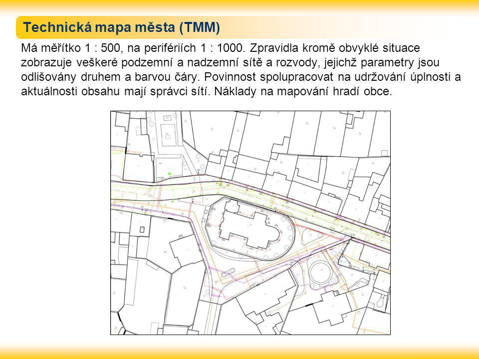 Technická mapa města (TMM) Má měřítko 1 : 500, na perifériích 1 : 1000. Zpravidla kromě obvyklé situace zobrazuje veškeré podzemní a nadzemní sítě a r