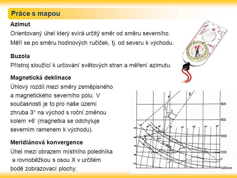 Práce s mapou Azimut Orientovaný úhel který svírá určitý směr od směru severního.