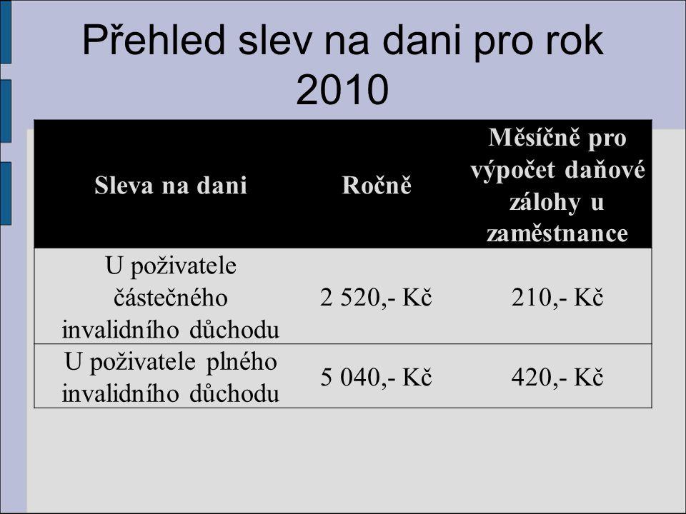 Přehled slev na dani pro rok 2010 Sleva na daniRočně Měsíčně pro výpočet daňové zálohy u zaměstnance U poživatele částečného invalidního důchodu 2 520
