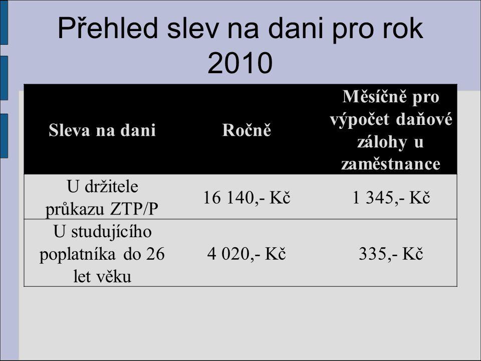 Přehled slev na dani pro rok 2010 Sleva na daniRočně Měsíčně pro výpočet daňové zálohy u zaměstnance U držitele průkazu ZTP/P 16 140,- Kč1 345,- Kč U