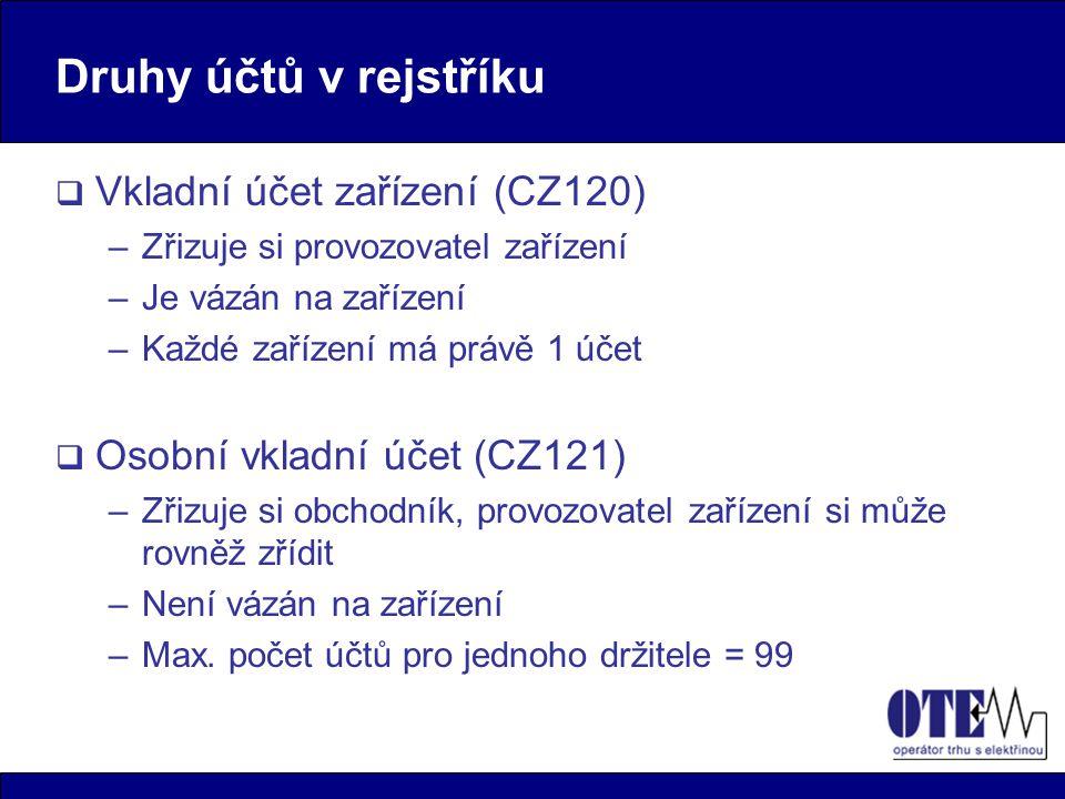 Druhy účtů v rejstříku  Vkladní účet zařízení (CZ120) –Zřizuje si provozovatel zařízení –Je vázán na zařízení –Každé zařízení má právě 1 účet  Osobní vkladní účet (CZ121) –Zřizuje si obchodník, provozovatel zařízení si může rovněž zřídit –Není vázán na zařízení –Max.