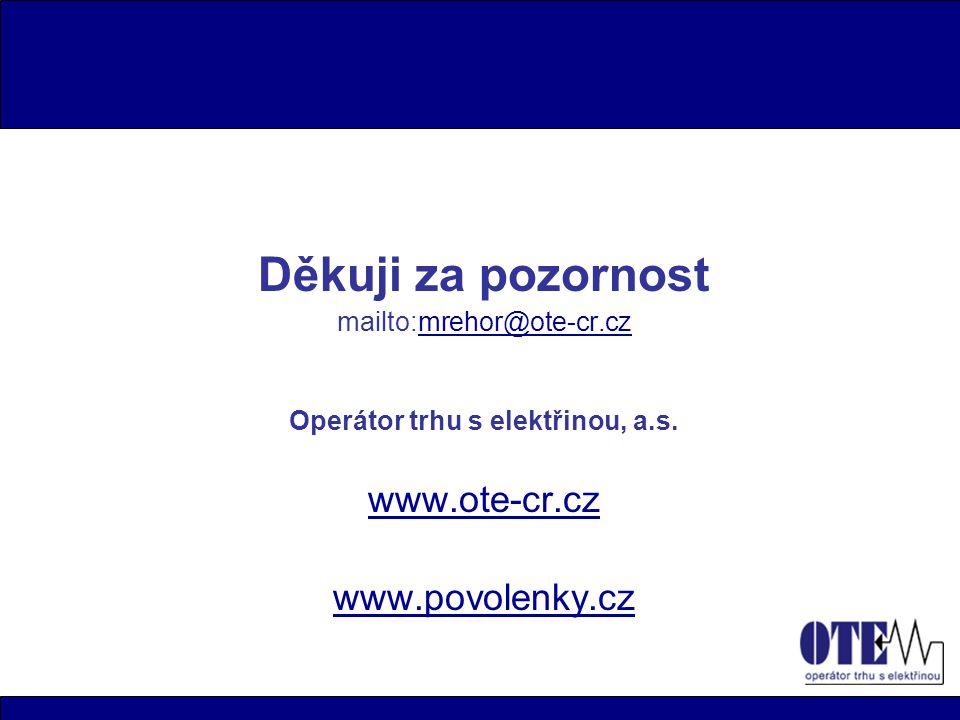 Děkuji za pozornost mailto:mrehor@ote-cr.czmrehor@ote-cr.cz Operátor trhu s elektřinou, a.s.