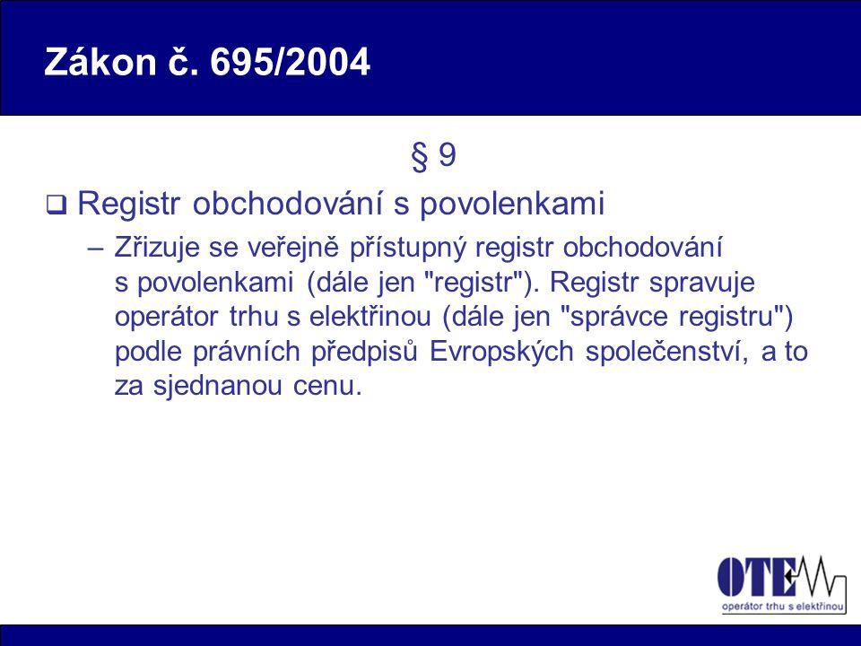 Podmínky pro spuštění rejstříku  Oficiální povolení ke spuštění rejstříku vydané Evropskou komisí (EK) –Testy systému za účasti zástupce EK proběhly úspěšně 23.5.2005  Uvedení komunikačního spojení mezi rejstříkem a nezávislou evidencí transakcí Společenství (CITL) v činnost  Finální verze národního alokačního plánu alokovaného na jednotlivá zařízení