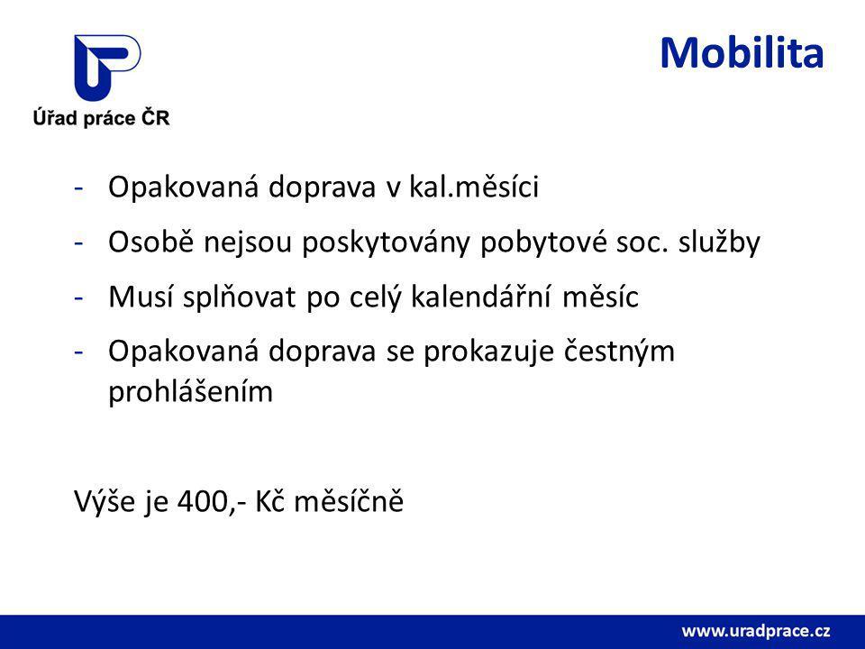 Mobilita -Opakovaná doprava v kal.měsíci -Osobě nejsou poskytovány pobytové soc. služby -Musí splňovat po celý kalendářní měsíc -Opakovaná doprava se